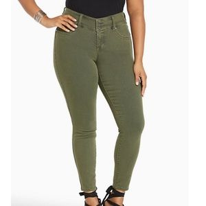 Torrid olive green 3 button fly skinny jeans